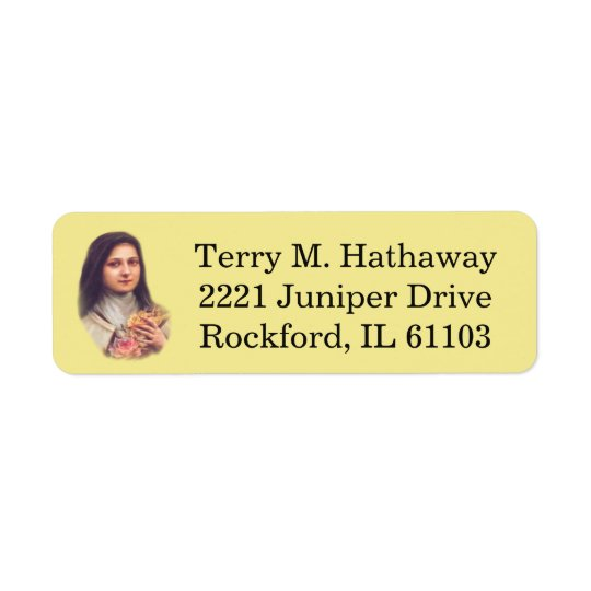St. Therese the Little Flower Pink Roses Return Address Label