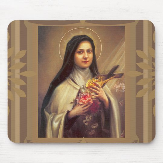 St. Therese the Little Flower Roses & Crucifix Mouse Mat
