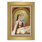 St. Therese the Little Flower w/Mary & Jesus Card