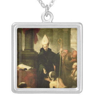 St. Thomas of Villanueva Distributing Alms, 1678 Silver Plated Necklace