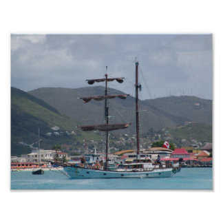 St. Thomas with tall Sail Boat, looks like pirate Poster