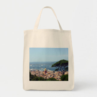 st tropez view grocery tote bag