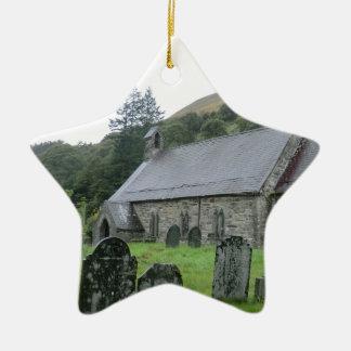 St Tydecho Llanmawddwy Church, Wales Ceramic Star Decoration
