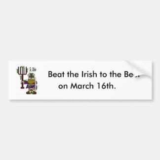"St. Urho Bumper Sticker = ""Beat Irish To The Beer"""