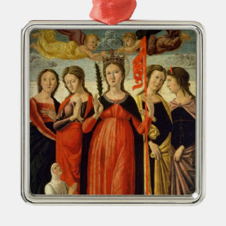 St. Ursula and Four Saints (tempera on panel) Silver-Colored Square Decoration