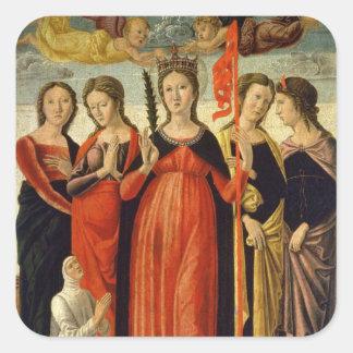 St. Ursula and Four Saints (tempera on panel) Square Sticker