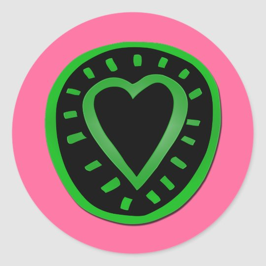 St Valentine's Day Green Black Heart Pink Sticker