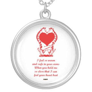 St. Valentine's Day Happy Valentine's Day giraffe Round Pendant Necklace