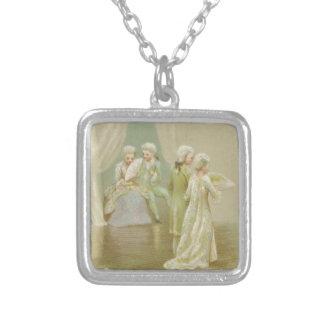 St. Valentine's Greetings Square Pendant Necklace