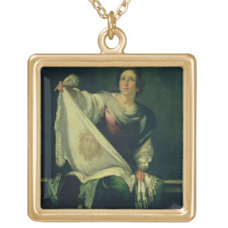 St. Veronica, 1625-30 (oil on canvas) Gold Plated Necklace