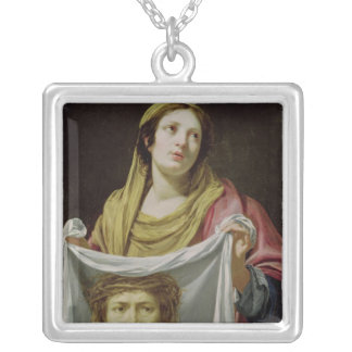 St. Veronica Holding the Holy Shroud Silver Plated Necklace