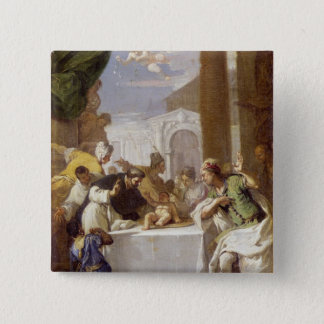St. Vincent Ferrer performing a miracle 15 Cm Square Badge