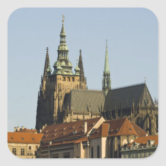 St. Vitus Cathedral and Prague Castle, one of Square Sticker