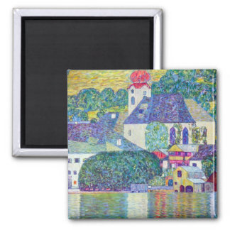 St. Wolfgang Church by Gustav Klimt, Victorian Art Square Magnet