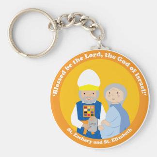 St. Zachary and St. Elizabeth Basic Round Button Key Ring