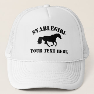 Stablegirl with horse and custom text trucker hat