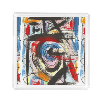 Staccato-Hand Painted Abstract Art Brushstrokes Acrylic Tray