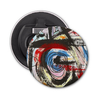 Staccato-Hand Painted Abstract Art Brushstrokes Bottle Opener