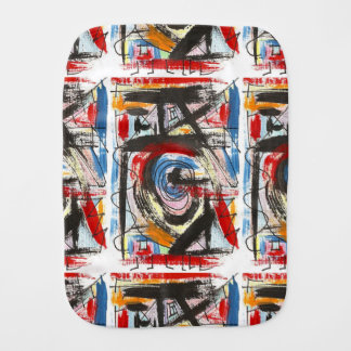 Staccato-Hand Painted Abstract Art Brushstrokes Burp Cloth