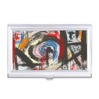Staccato-Hand Painted Abstract Art Brushstrokes Business Card Cases