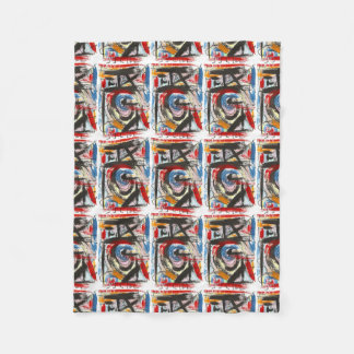 Staccato-Hand Painted Abstract Art Brushstrokes Fleece Blanket