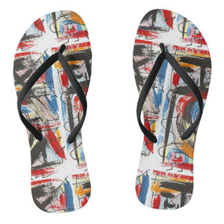 Staccato-Hand Painted Abstract Art Brushstrokes Flip Flops