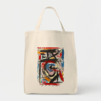 Staccato-Hand Painted Abstract Art Brushstrokes Grocery Tote Bag