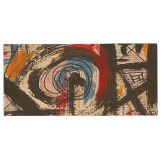 Staccato-Hand Painted Abstract Art Brushstrokes Wood USB Flash Drive