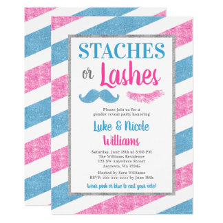 Staches or Lashes Gender Reveal Party Baby Shower Card