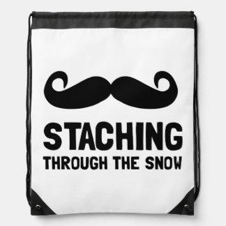 Staching Through Snow Drawstring Backpacks