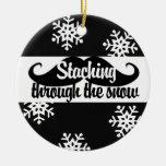 Staching through the snow round ceramic decoration