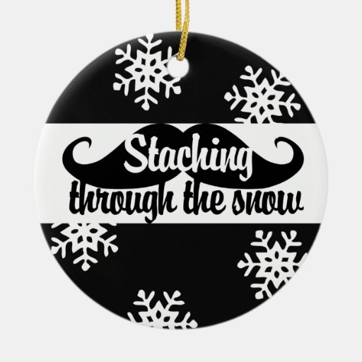 Staching through the snow round ceramic decoration