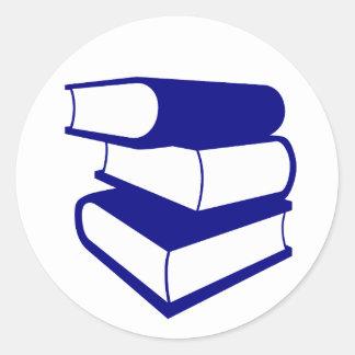 Stack Of Blue Books Round Sticker