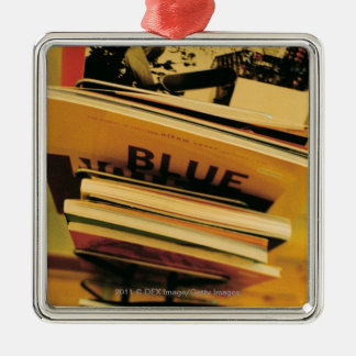 Stack of books and magazines christmas ornament