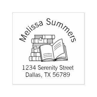 Stack of Books and Open Book Address Self-inking Stamp