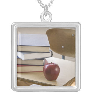 Stack of books, apple, and school desk personalized necklace