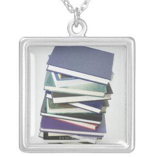 Stack of books square pendant necklace
