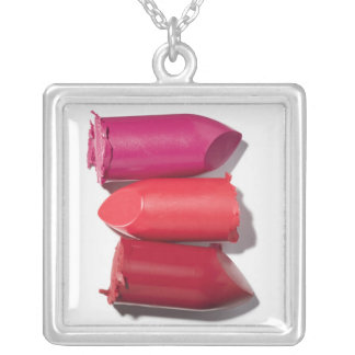 Stack of broken lipstick silver plated necklace