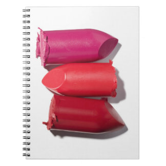 Stack of broken lipstick spiral notebook
