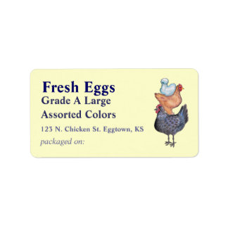 Stack of Chickens Egg Label