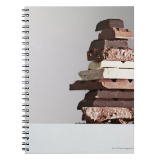 Stack of chocolate bars notebook