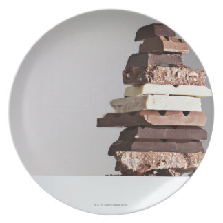 Stack of chocolate bars plate