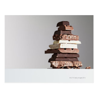 Stack of chocolate bars postcard