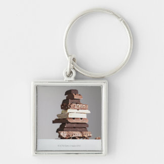 Stack of chocolate bars Silver-Colored square key ring