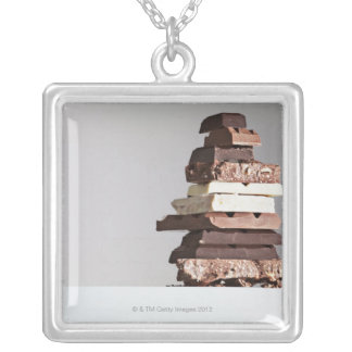 Stack of chocolate bars silver plated necklace