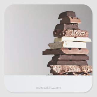 Stack of chocolate bars square sticker