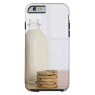 Stack of chocolate chip cookies milk in a glass tough iPhone 6 case