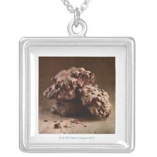 Stack of Chocolate Cookies Silver Plated Necklace