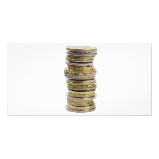 Stack of coins customized photo card