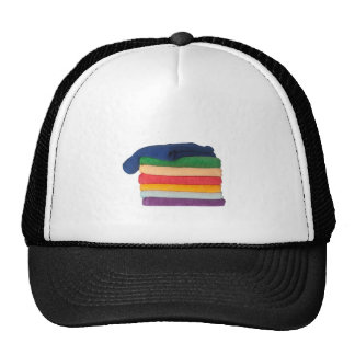 Stack of colorful towels cap